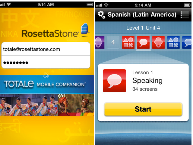 Rosetta Stone on Smarphone